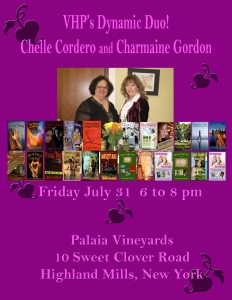 Authors Chelle Cordero and Charmaine Gordon  at Palaia Vineyards July 31, 6PM to 8PM